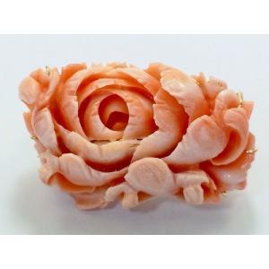 ボケ珊瑚フラワー透かし彫りブローチ&ペンダントトップ|megumi-1