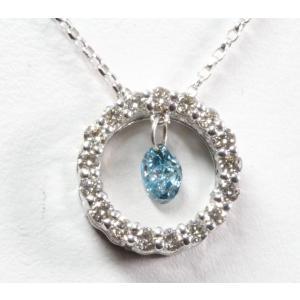 天然ブルーダイヤモンド ダイヤモンドネックレス K18WG|megumi-1