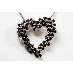 天然ブラックダイヤモンドオープンハートネックレス K18WG|megumi-1