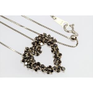 天然ブラックダイヤモンドオープンハートネックレス K18WG|megumi-1|02