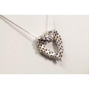 天然ブラックダイヤモンドオープンハートネックレス K18WG|megumi-1|04