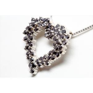 天然ブラックダイヤモンドオープンハートネックレス K18WG|megumi-1|05