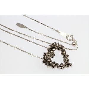天然ブラックダイヤモンドオープンハートネックレス K18WG|megumi-1|06