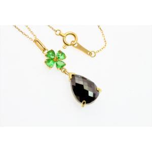 上質ブラックダイヤモンド グリーンガーネットネックレス K18|megumi-1