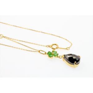上質ブラックダイヤモンド グリーンガーネットネックレス K18 megumi-1 06