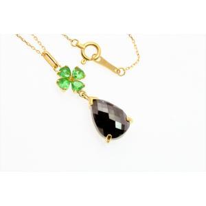 上質ブラックダイヤモンド グリーンガーネットネックレス K18 megumi-1 07