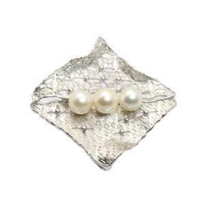 艶やかに照り輝く アコヤ本真珠 ブローチ&ペンダントSV925|megumi-1