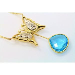 天然ブルートパーズ ダイヤモンド 蝶モチーフネックレス K18/PT900|megumi-1