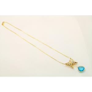 天然ブルートパーズ ダイヤモンド 蝶モチーフネックレス K18/PT900|megumi-1|03