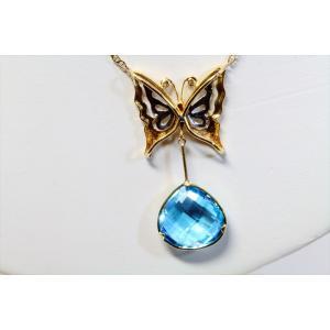 天然ブルートパーズ ダイヤモンド 蝶モチーフネックレス K18/PT900 新品 レディース|megumi-1|04
