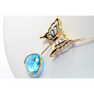 天然ブルートパーズ ダイヤモンド 蝶モチーフネックレス K18/PT900 新品 レディース|megumi-1|05