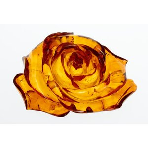 透明感抜群 彫綺麗 琥珀薔薇彫り9.9gルースno4|megumi-1
