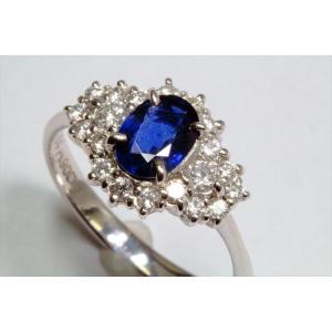 ブルーサファイア ダイヤモンドリングPT900|megumi-1