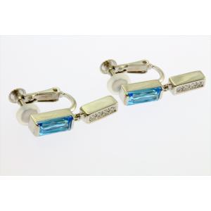 ブルートパーズ ダイヤモンドイヤリングPT900|megumi-1