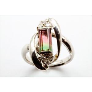 天然バイカラートルマリン ダイヤモンドリングPT900|megumi-1
