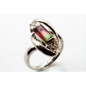 天然バイカラートルマリン ダイヤモンドリングPT900 新品 レディース|megumi-1|02