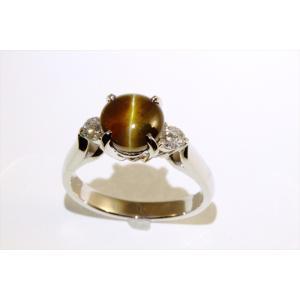 クリソベリルキャッツアイ ダイヤモンドリング PT900|megumi-1
