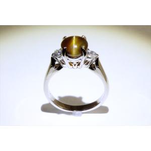 クリソベリルキャッツアイ ダイヤモンドリング PT900 新品 レディース|megumi-1|05
