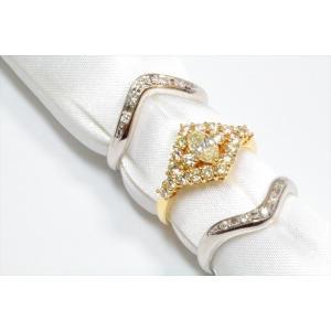 ダイヤモンドリングK18& V型ダイヤモンドペアリングPT900 3点セット|megumi-1|02