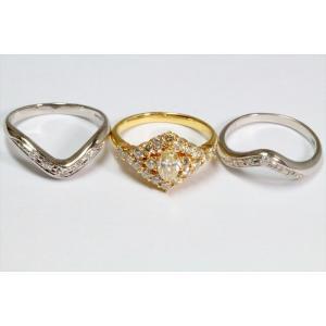 ダイヤモンドリングK18& V型ダイヤモンドペアリングPT900 3点セット|megumi-1|03