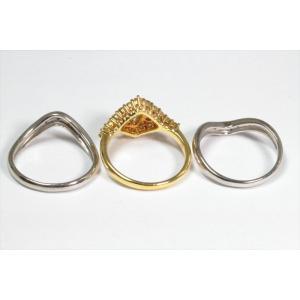ダイヤモンドリングK18& V型ダイヤモンドペアリングPT900 3点セット|megumi-1|04