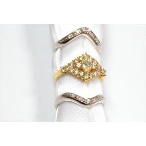 ダイヤモンドリングK18& V型ダイヤモンドペアリングPT900 3点セット|megumi-1|05