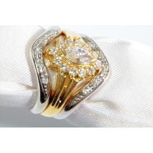 ダイヤモンドリングK18& V型ダイヤペアリングPT900 3点セット|megumi-1