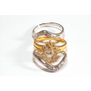 ダイヤモンドリングK18& V型ダイヤペアリングPT900 3点セット|megumi-1|02