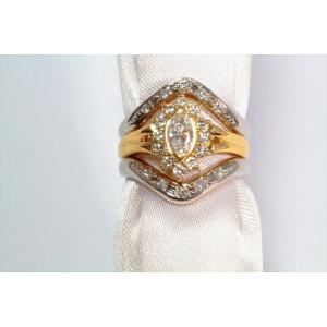 ダイヤモンドリングK18& V型ダイヤペアリングPT900 3点セット|megumi-1|03