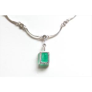 天然エメラルド ダイヤモンドチェーンネックレス K18WG|megumi-1|04