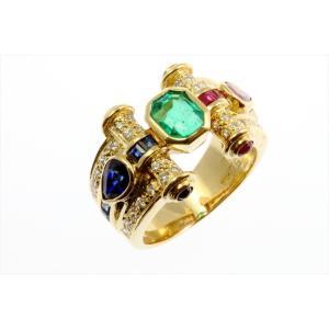 エメラルド ルビー ブルーサファイア ダイヤモンドリング K18|megumi-1|03