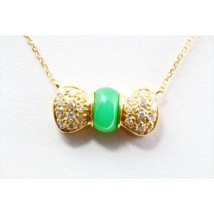 本翡翠 ダイヤモンド リボンモチーフネックレス K18|megumi-1|05