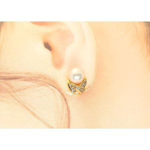 本真珠 ダイヤイヤリングK18 megumi-1 03