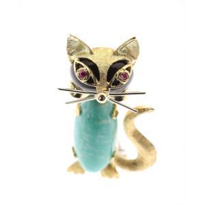 いたずらっぽくて可愛い猫 ブローチ&ペンダント K18YG/K18WG ねこ  megumi-1