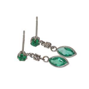 天然エメラルド 合計0.70ct ダイヤモンド ピアス K18WG 新品 可愛い|megumi-1