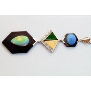 オパール オニキス 翡翠 ダイヤモンドネックレスPT850/K18 新品 レディース megumi-1 02