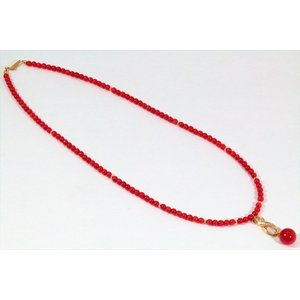 天然赤珊瑚 ネックレス K18|megumi-1