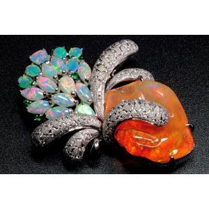 メキシコオパール オパール ダイヤ エメラルドペンダント&ブローチPT900|megumi-1