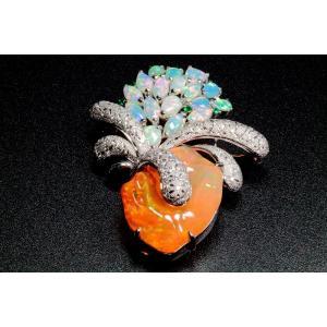 メキシコオパール オパール ダイヤ エメラルドペンダント&ブローチPT900|megumi-1|02