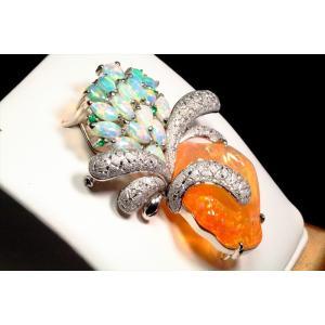 メキシコオパール オパール ダイヤ エメラルドペンダント&ブローチPT900|megumi-1|06