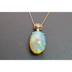 大粒 天然 オパール  ホワイト ダイヤモンド ファンシーブラウン ダイヤモンド ネックレス  K18 新品 レディース |megumi-1