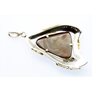天然ボルダーオパール6.81ct ダイヤモンドペンダント PT900/K18|megumi-1|05