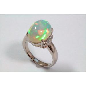 オパールダイヤモンドリングPT900|megumi-1