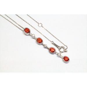 オレンジサファイア ダイヤモンドペンダント K18WG megumi-1 02