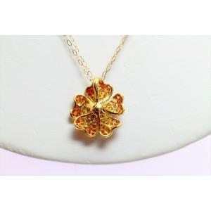 ダイヤモンド オレンジサファイアフラワーモチーフネックレスK18|megumi-1|05