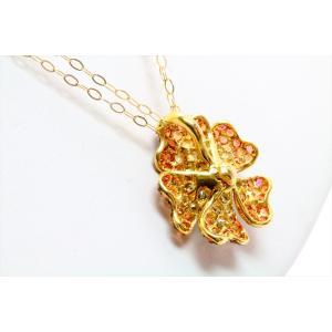 ダイヤモンド オレンジサファイアフラワーモチーフネックレスK18|megumi-1|06