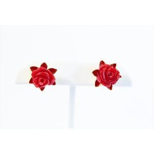 赤珊瑚薔薇彫りモチーフピアス K18|megumi-1