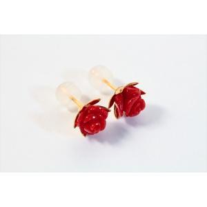 赤珊瑚薔薇彫りモチーフピアス K18|megumi-1|02