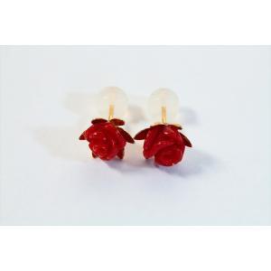 赤珊瑚薔薇彫りモチーフピアス K18|megumi-1|03