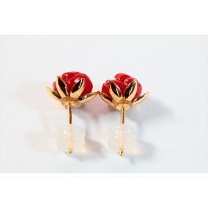 赤珊瑚薔薇彫りモチーフピアス K18|megumi-1|04